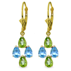 4.5 Carat 14K Solid Yellow Gold First Love Blue Topaz Peridot Earrings