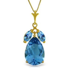 6.5 Carat 14K Solid Yellow Gold Good Impressions Blue Topaz Necklace