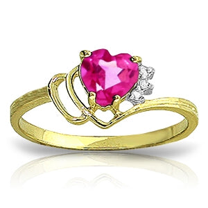 0.97 Carat 14K Solid Yellow Gold Puerto Rico Pink Topaz Diamond Ring
