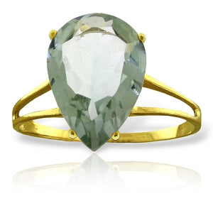 5 Carat 14K Solid Yellow Gold Hot Response Green Amethyst Ring