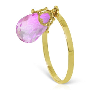 3 Carat 14K Solid Yellow Gold Ring Dangling Briolette Pink Topaz