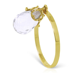 3 Carat 14K Solid Yellow Gold Ring Dangling Briolete White Topaz