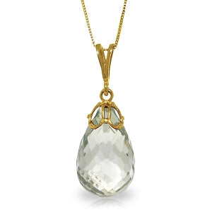 7 Carat 14K Solid Yellow Gold Engage Green Amethyst Necklace