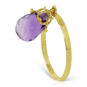 3 Carat 14K Solid Yellow Gold Ring Dangling Briolette Purple Amethyst