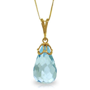 10.25 Carat 14K Solid Yellow Gold Hidden Charm Blue Topaz Necklace