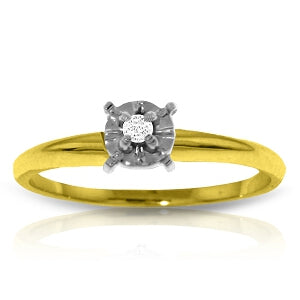 0.03 Carat 14K Solid Yellow Gold Solitaire Ring 0.05 Carat Natural Diamond