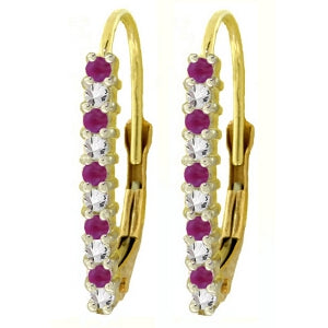 0.35 Carat 14K Solid Yellow Gold Leverback Earrings Natural Diamond Ruby