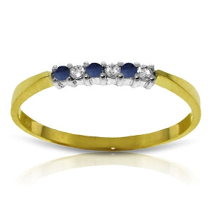 0.11 Carat 14K Solid Yellow Gold Picture Perfect Sapphire Diamond Ring