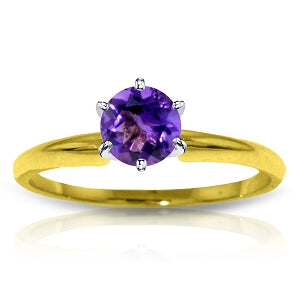0.65 Carat 14K Solid Yellow Gold Solitaire Ring Natural Purple Amethyst