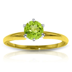 0.65 Carat 14K Solid Yellow Gold Solitaire Ring Natural Peridot