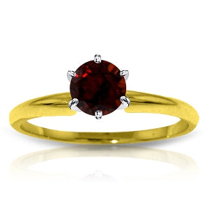 0.65 Carat 14K Solid Yellow Gold Solitaire Ring Natural Garnet