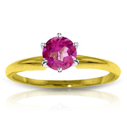 0.65 Carat 14K Solid Yellow Gold Solitaire Ring Natural Pink Topaz