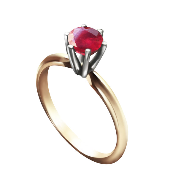 0.65 Carat 14K Solid Yellow Gold Solitaire Ring Natural Ruby