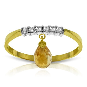 1.45 Carat 14K Solid Yellow Gold Ring Natural Diamond Dangling Citrine