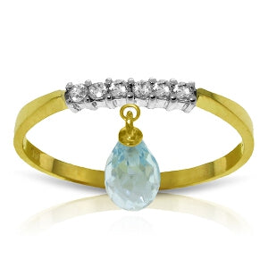 1.45 Carat 14K Solid Yellow Gold Ring Natural Diamond Dangling Blue Topaz