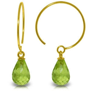 1.35 Carat 14K Solid Yellow Gold Circle Wire Earrings Peridot