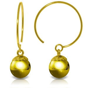 14K Solid Yellow Gold Circle Wire Earrings Ball Dangling