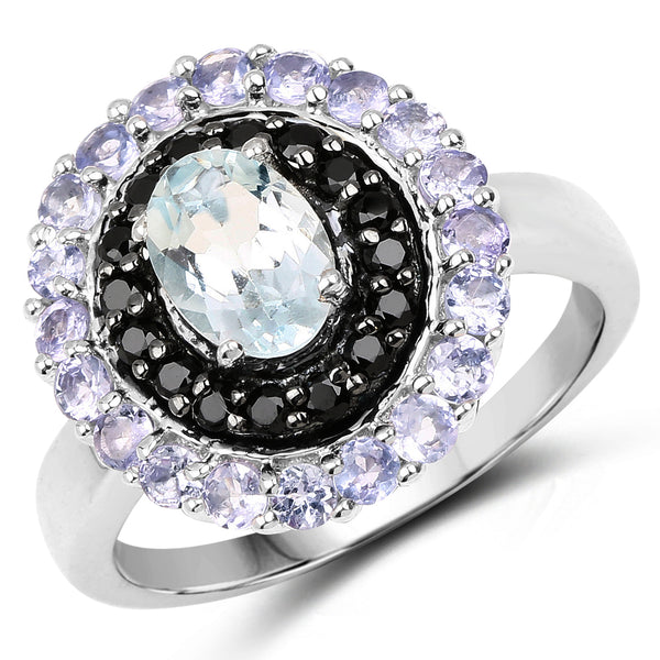 """1.77 Carat Genuine Aquamarine Black Spinel and Tanzanite .925 Sterling Silver Ring"""