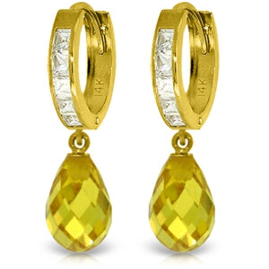 11.1 Carat 14K Solid Yellow Gold Countess Yellow Zirconia Earrings
