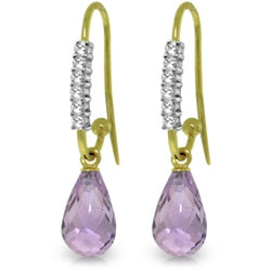4.68 Carat 14K Solid Yellow Gold Impressions Amethyst Diamond Earrings