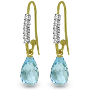 4.68 Carat 14K Solid Yellow Gold Impressions Blue Topaz Diamond Earrings