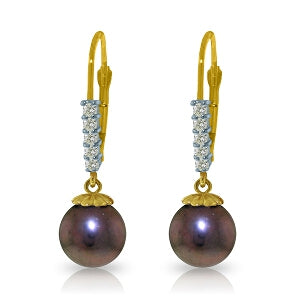 8.15 Carat 14K Solid Yellow Gold Pampered Pearl Diamond Earrings