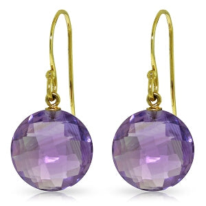 12 Carat 14K Solid Yellow Gold Lumiere Amethyst Earrings