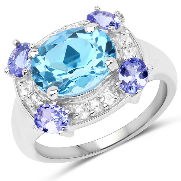 """4.13 Carat Genuine Swiss Blue Topaz Tanzanite & White Topaz .925 Sterling Silver Ring"""