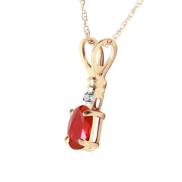 0.46 Carat 14K Solid Yellow Gold Earthly Goods Ruby Diamond Necklace