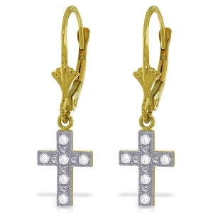 0.06 Carat 14K Solid Yellow Gold Cross Necklace Earrings Natural Diamond
