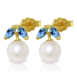 4.4 Carat 14K Solid Yellow Gold Stud Earrings Pearl Blue Topaz