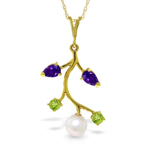 2.7 Carat 14K Solid Yellow Gold Cotton Field Amethyst Peridot Necklace