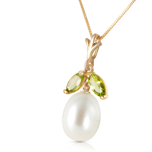 4.5 Carat 14K Solid Yellow Gold Winning Peridot Pearl Necklace