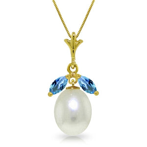 4.5 Carat 14K Solid Yellow Gold Necklace Parl Blue Topaz