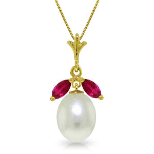 4.5 Carat 14K Solid Yellow Gold Necklace Natural Pearl Ruby