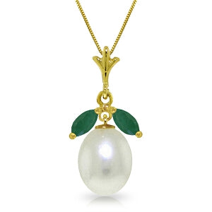 4.5 Carat 14K Solid Yellow Gold Necklace Natural Parl Emerald