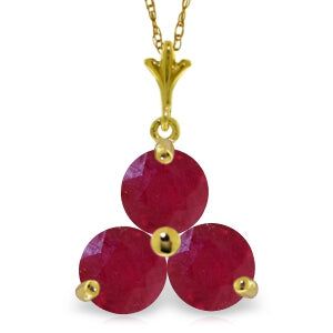 0.75 Carat 14K Solid Yellow Gold Heartbeat Ruby Necklace