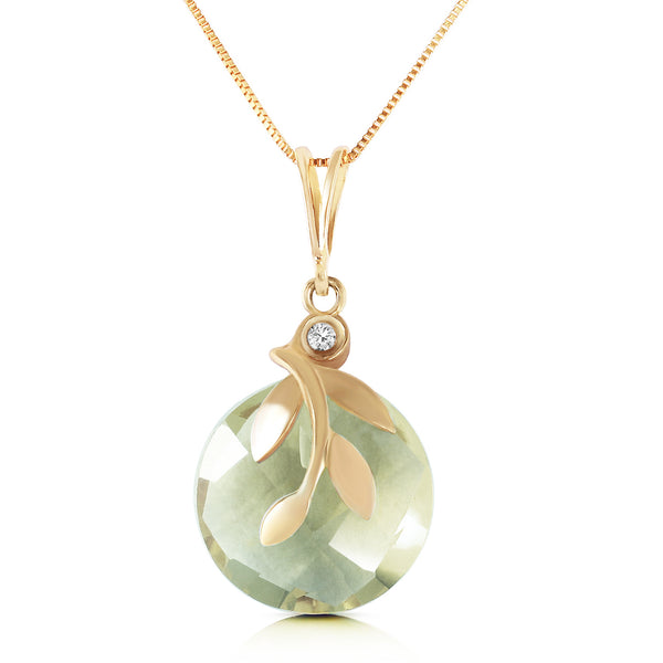 5.32 Carat 14K Solid Yellow Gold Necklace Natural Green Amethyst Diamond