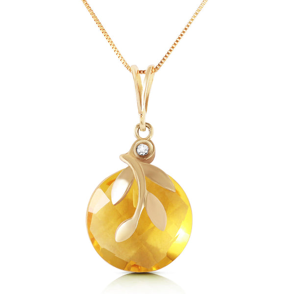 5.32 Carat 14K Solid Yellow Gold Necklace Checkerboard Cut Citrine Diamond