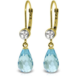 4.53 Carat 14K Solid Yellow Gold Femme Blue Topaz Diamond Earrings