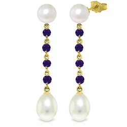 11 Carat 14K Solid Yellow Gold Pearly View Amethyst Pearl Earrings