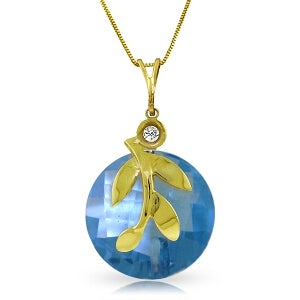 5.32 Carat 14K Solid Yellow Gold Necklace Checkerboard Cut Blue Topaz Di