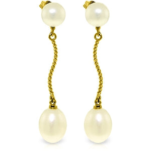 10 Carat 14K Solid Yellow Gold Danglings Earrings Natural Pearl