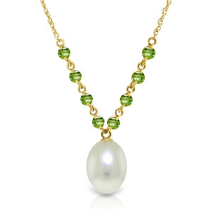5 Carat 14K Solid Yellow Gold Necklace Natural Peridot Pearl