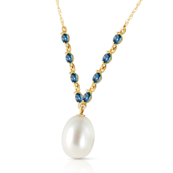 5 Carat 14K Gold Necklace Natural Blue Topaz Pearl