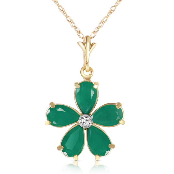 2.22 Carat 14K Solid Yellow Gold Necklace Natural Emerald Diamond