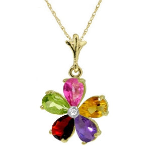 2.22 Carat 14K Solid Yellow Gold Necklace Natural Multi Gemstones Diamond