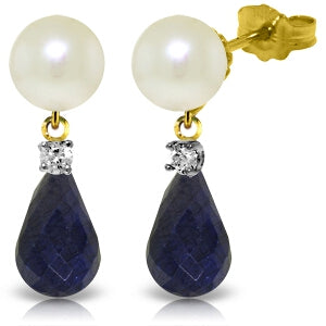 8.7 Carat 14K Solid Yellow Gold Stud Earrings Diamond, Sapphire Pearl