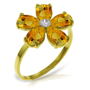 2.22 Carat 14K Solid Yellow Gold Coming Up Daisies Citrine Diamond Ring