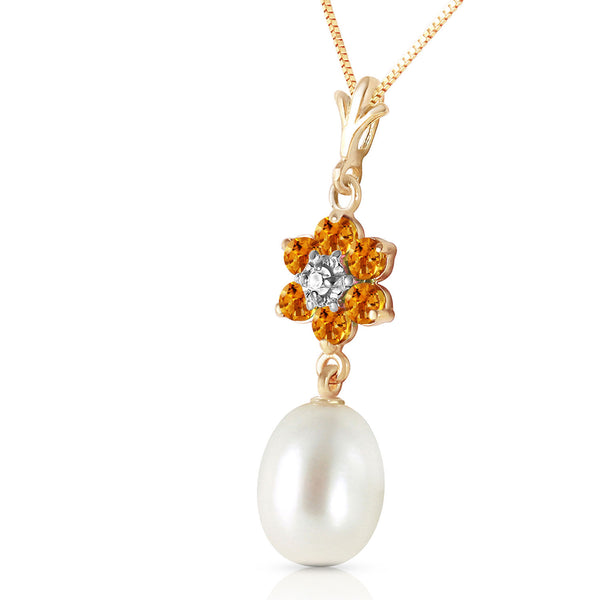 4.53 Carat 14K Solid Yellow Gold Necklace Natural Pearl, Citrine Diamond